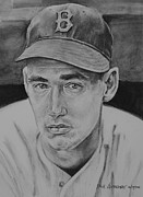 Sports Portrait Drawings Drawings - Ted Williams by Paul Autodore