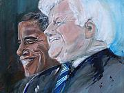 Barack Obama Painting Posters - Teddy and Barack Poster by Valerie Wolf