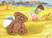 Bondi Paintings - Teddy and Jude on Bondi Beach by Darren Stein
