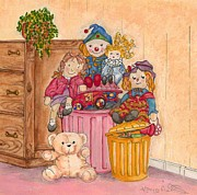 Drawers Painting Posters - Teddy and Toys Poster by Kaye Miller-Dewing