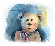 Kids Toys Paintings - Teddy by Arline Wagner