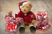 Teddy At Christmas Print by Louise Heusinkveld
