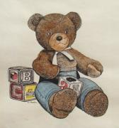 Cuddly Drawings Prints - Teddy Bear Print by Charles Roy Smith