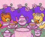 Tea Party Drawings - Teddy Bear Tea Party by Paula  Parker