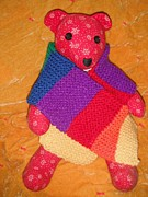 Jordan Wall Art Posters - Teddy Bear Wearing Rainbow Scarf Poster by Jeannie Atwater Jordan Allen