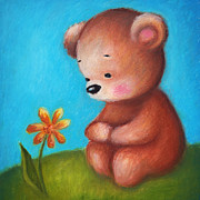 Childish Mixed Media - Teddy Bear With A Yellow Flower by Anna Abramska