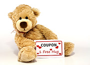 Message Posters - Teddy bear with hug coupon Poster by Blink Images
