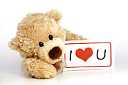I Art - Teddy bear with I Love You Sign by Blink Images