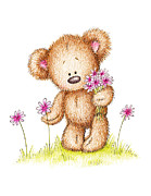 Animal Drawings Prints - Teddy Bear With Pink Flowers Print by Anna Abramska