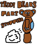 Teddybear Framed Prints - Teddy Bears Fart Stuffing 1 Framed Print by Jera Sky