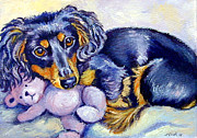 Puppies Painting Originals - Teddy Cuddles - Dachshund by Lyn Cook
