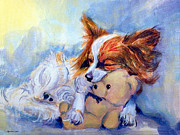 Papillon Dog Paintings - Teddy Hugs - Papillon Dog by Lyn Cook