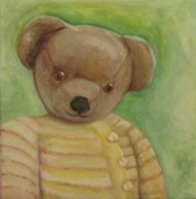 Yellow Sweater Posters - Teddy Portrait Poster by Maria Milazzo