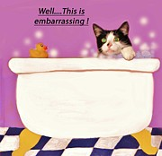 Bath Tubs Posters - Teddy the Ninja Cat Up Close and Personal Poster by Reb Frost