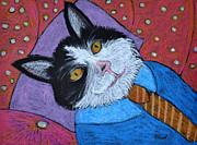 Black And White Cats Pastels - Teddys Daydream by Reb Frost
