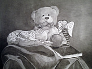 Neutrals Drawings Posters - Teddys Things Poster by Jacq Lovelace