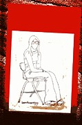 Levis Mixed Media Framed Prints - Teen Girl in School Chair Framed Print by Sheri Parris