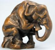Miniatures Sculptures - Teeny tiny Senior Moment elephant by Steve Worthington