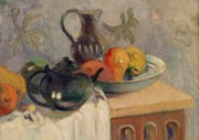 Fruitbowl Framed Prints - Teiera Brocca e Frutta Framed Print by Paul Gauguin