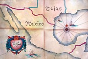 Vintage Map Paintings - Tejas y Mexico by Frank SantAgata