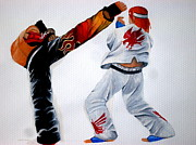 Fan Art Painting Originals - Tekken 6 Jin vs Hwoarang - Fan art by Sukhbat Enkhjikh