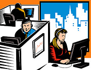 Telemarketer Office Worker Retro Print by Aloysius Patrimonio