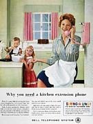 Domestic Interior Posters - Telephone Advertisement Poster by Granger
