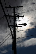 Telephone Pole Prints - Telephone and Electric Wires and Pole in Abstract Silhouette . 7D13651 Print by Wingsdomain Art and Photography