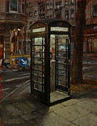 Poetic Paintings - Telephone Box At Night by Nicolas Martin