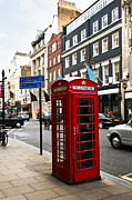 Old Street Metal Prints - Telephone box in London Metal Print by Elena Elisseeva