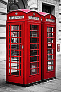 Boxes Posters - Telephone boxes in London Poster by Elena Elisseeva
