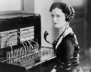 Mid Adult Framed Prints - Telephone Operator Framed Print by General Photographic Agency