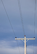 Telephone Wires Framed Prints - Telephone Pole Against the Sky Framed Print by Bryan Mullennix