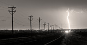 Lightning Bolts Posters - Telephone Poles Black and White Sepia Poster by James Bo Insogna
