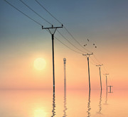 Pole Prints - Telephone Post At Sunset Print by Kurtmartin