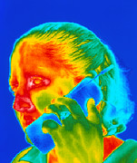 Thermogram Prints - Telephone Thermogram Print by Dr. Arthur Tucker