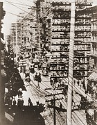 City Streets Photo Prints - Telephone Wires Over New York, 1887 Print by Everett