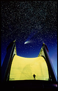 Hale-bopp Framed Prints - Telescope & Comet Hale-bopp Framed Print by David Nunuk