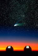 Telescopes Posters - Telescope Domes and Hale-Bopp Comet Poster by David Nunuk