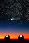 Hale-bopp Comet Framed Prints - Telescope Domes On Mauna Kea With Hale-bo Framed Print by David Nunuk