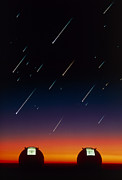 Keck Telescope Posters - Telescope Domes On Mauna Kea With Meteors Poster by David Nunuk