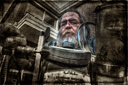 Aluminum Framed Prints Prints - Telescope Salesman - Failed Print by John Herzog