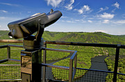 Binoculars Posters - Telescope with view on meander of Queuille. Auvergne. France. Europe Poster by Bernard Jaubert