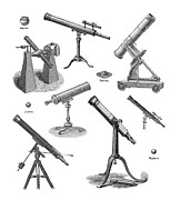 Telescopes Framed Prints - Telescopes, Historical Artwork Framed Print by Mehau Kulyk