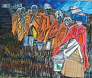 Tribal Art Paintings - Tembu Bride And Her Maids by Mawetu Janda