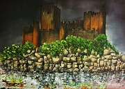 Templar Paintings - Templar castle of Almourol by Kaye Miller-Dewing