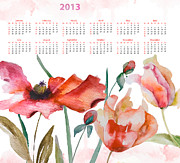 Calligraphy Art Prints - Template for calendar 2013 Print by Regina Jershova