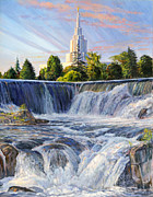 Falls Paintings - Temple and the Falls by Steve Spencer