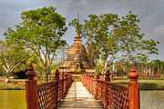 Asia Prints - Temple Bridge Print by Adrian Evans
