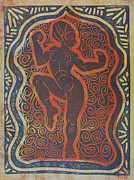 Linocut Mixed Media Posters - Temple Dancer Poster by Diana Blackwell